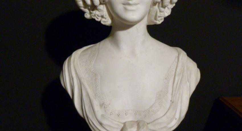 jb atique white marble bust of a lady